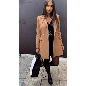 NEW Zara Tan Double Breasted Frock Coat Blazer